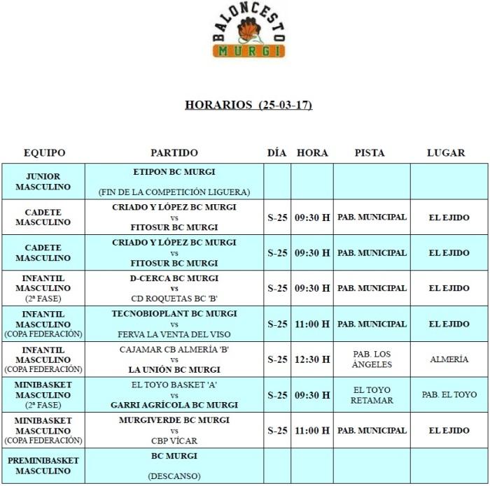 Horarios Cantera BC Murgi 15 (25-03-17)