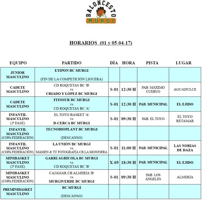 Horarios Cantera BC Murgi 16 (01 y 05-04-17)
