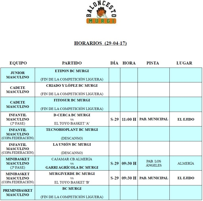 Horarios Cantera BC Murgi 19 (29-04-17)