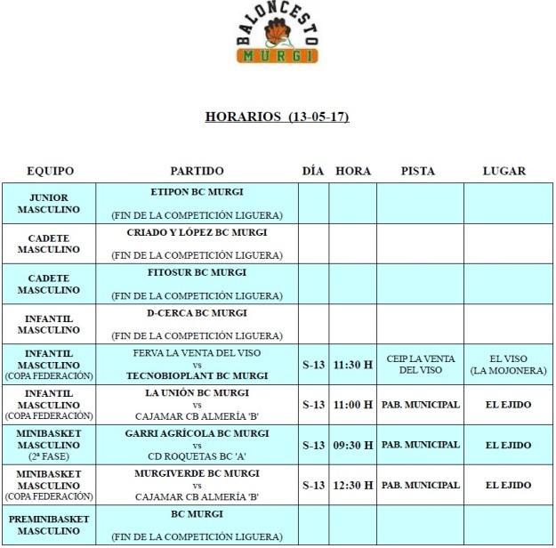 Horarios Cantera BC Murgi 21 (13-05-17)